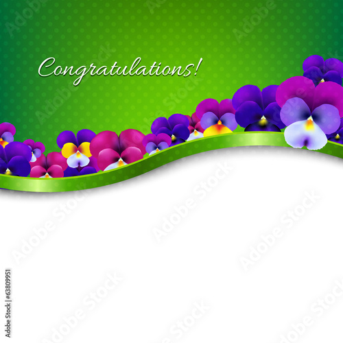 Congratulations Card Flowers Pansies