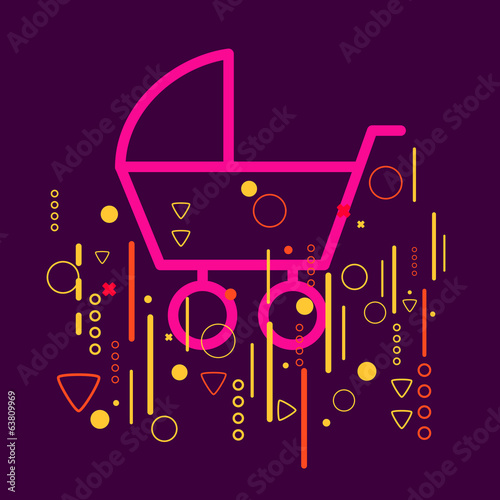 Baby carriage on abstract colorful geometric dark background wit