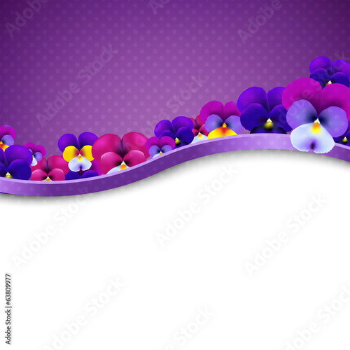 Lilac Flowers Pansies Border