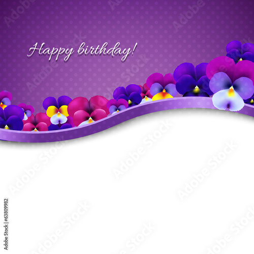 Lilac Flowers Pansies Card
