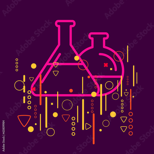 Glass flask on abstract colorful geometric dark background with