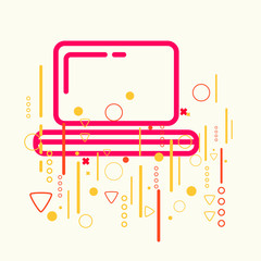 Laptop on abstract colorful geometric light background