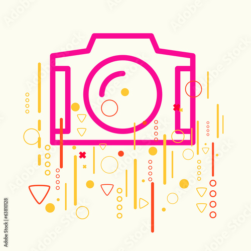Photo camera on abstract colorful geometric light background