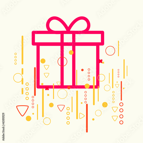 Gift box on abstract colorful geometric light background