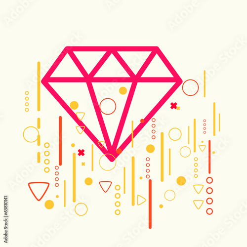 Diamond on abstract colorful geometric light background
