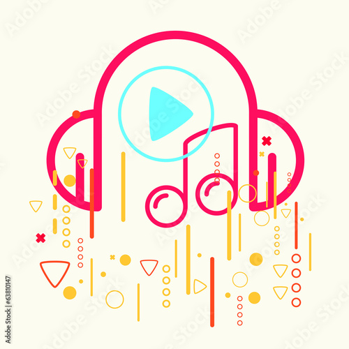 Headphones and note on abstract colorful geometric light
