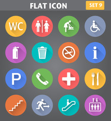 Public Icons set in flat style with long shadows.