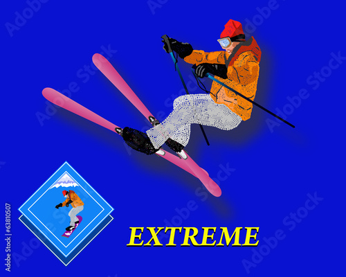 Winter Sport. Emblem. Freestyle Skiing. Extreme Skiing.Vector