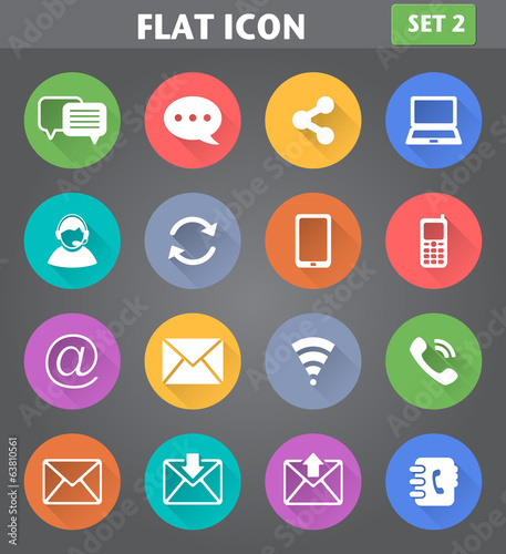 Communication Icons set in flat style with long shadows.
