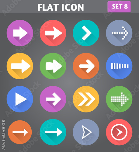 Arrow Icons set in flat style with long shadows.