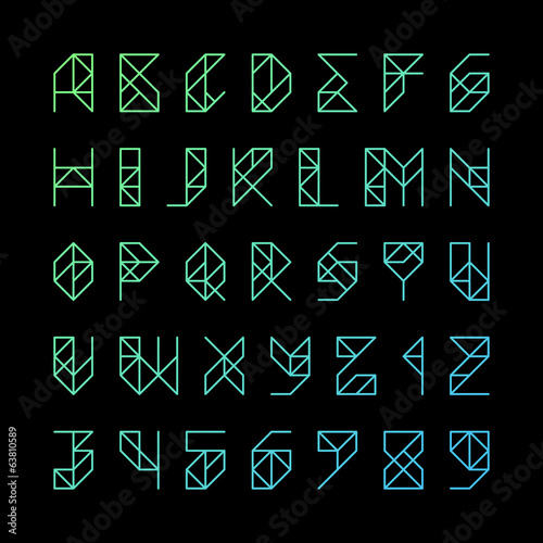 Gridline alphabet letters and numbers