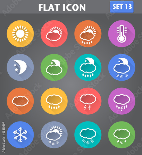 Weather Icons set in flat style with long shadows.