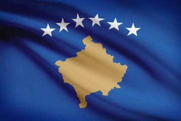 Series of ruffled flags. Republic of Kosovo.