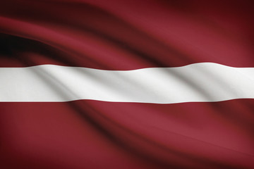Series of ruffled flags. Republic of Latvia.