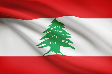 Series of ruffled flags. Lebanese Republic.