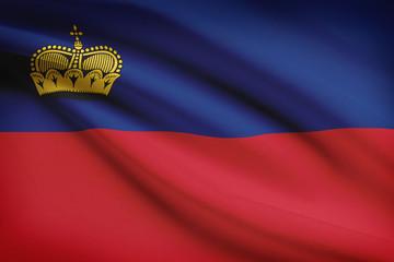 Series of ruffled flags. Principality of Liechtenstein.