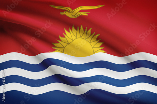 Series of ruffled flags. Republic of Kiribati.
