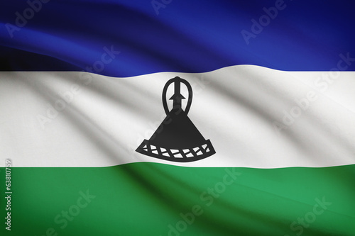 Series of ruffled flags. Kingdom of Lesotho.