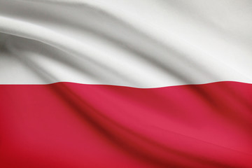 Series of ruffled flags. Republic of Poland.