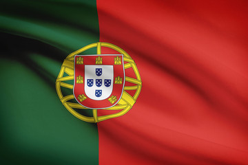 Series of ruffled flags. Portuguese Republic.