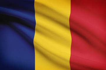 Series of ruffled flags. Romania.