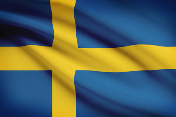 Series of ruffled flags. Kingdom of Sweden.