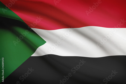 Series of ruffled flags. Republic of the Sudan.