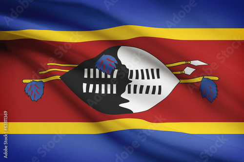 Series of ruffled flags. Kingdom of Swaziland.