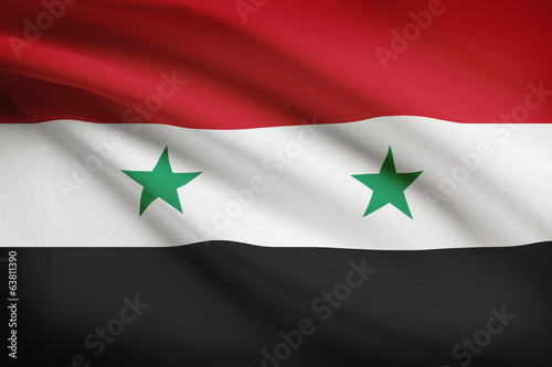 Series of ruffled flags. Syrian Arab Republic.