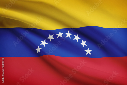Series of ruffled flags. Bolivarian Republic of Venezuela.