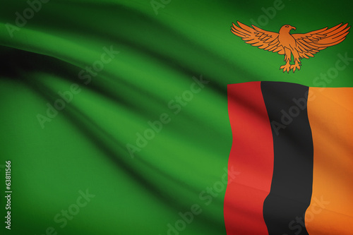 Series of ruffled flags. Republic of Zambia.