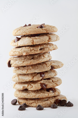 Vegan Chocolate Chip Cookie Stack Isolated on White