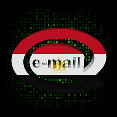 e-mail address AT symbol with Egypt flag on hex illustration