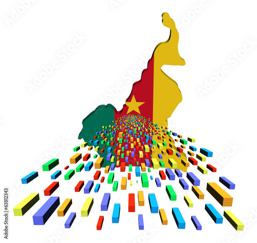 Cameroon map flag with containers illustration