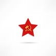 Communist red star with hammer and sickle on white background.