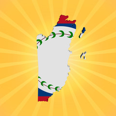 Belize map flag on sunburst illustration