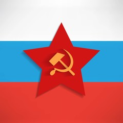 Communist red star with hammer and sickle on white background