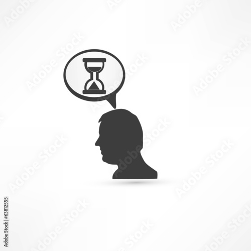 Man thinks about time. Businessman concept icon