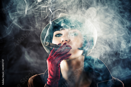 beautiful glamorous woman in retro style with cigar - 63812747
