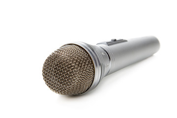 The silvery microphone isolated on a white background