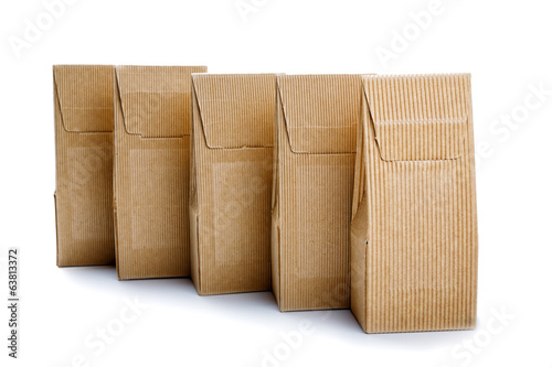 boxes from the goffered cardboard isolated on a white background