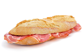 spanish bocadillo de lomo embuchado, a sandwich with cold meats