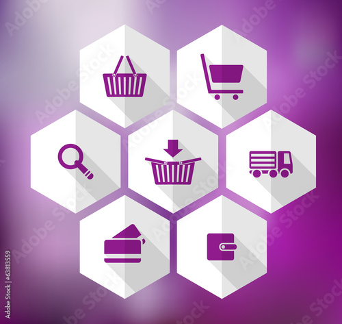 hexagonal icons for e-shop