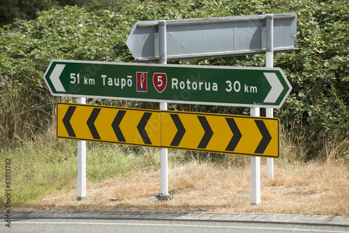 canvas print picture Roadside sign between Taupo and Rotorua North Island New Zealand