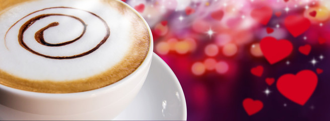 Coffee cup and saucer on hearts background