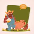 Farmer character. Retro style vector illustration.