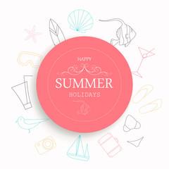 Vector Illustration of a Summer Vacation Emblem