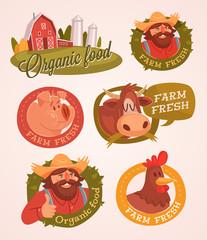 Farm fresh. Organic food. Retro style vector labels.