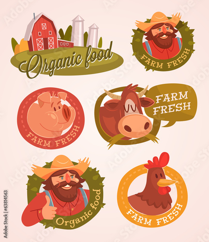 Farm fresh. Organic food. Retro style vector labels.
