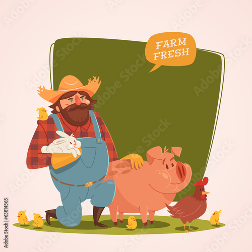 Farmer character. Retro style vector illustration.